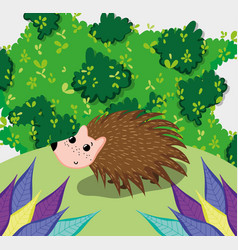 Cute porcupine at forest vector