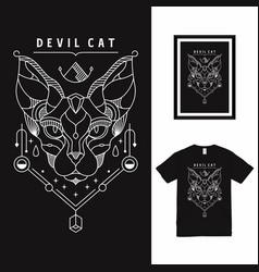 Devil egyptian cat line art t shirt design vector