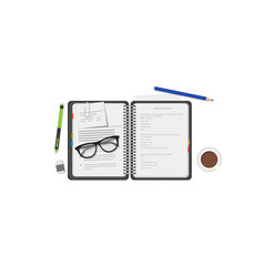diary notebook with pen vector image