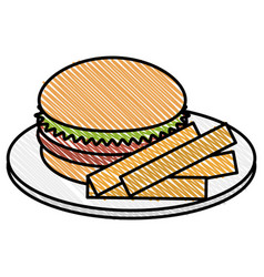 Dish with french fries and burger vector