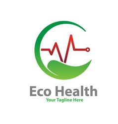 eco health logo designs vector image