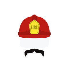 face of fireman in red helmet and mustache vector image