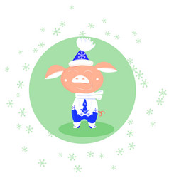 falling snowflakes and cute pig in blue and vector image