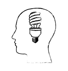 Figure man with save bulb in the brain icon vector