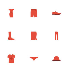 Flat icons pants swimming trunk apparel and vector
