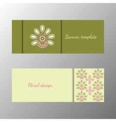 Floral pattern green horizontal banner collection vector