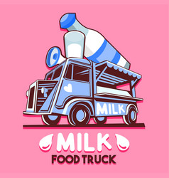 food truck dairy milk bar fast delivery service vector image