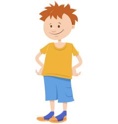 funny kid boy cartoon comic character vector image