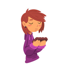 Girl holding chocolate bar sweet tooth lady vector
