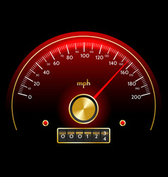 gold and red speedometer dashboard in retro style vector image