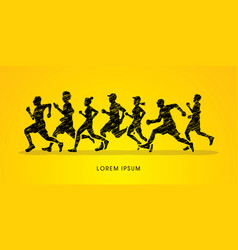 Group of people running marathon vector