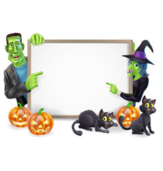 Halloween witch and frankenstein banner vector