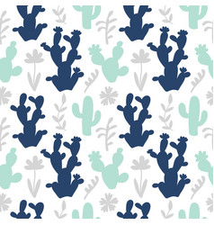 hand drawn floral mexican cacti seamless pattern vector image
