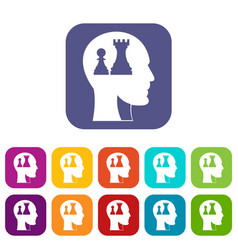 head with queen and pawn chess icons set flat vector image