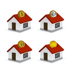 House shaped piggy bank icons with currencies vector