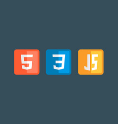 Html5 css3 js icon set web development logo icon vector