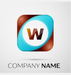 Letter w logo symbol in the colorful square on vector