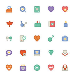 Love and romance colored icons 10 vector