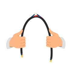 Man holding broken wire in hands vector