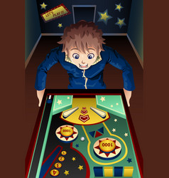 Man playing pinball machine vector