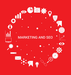 marketing and seo icon set infographic template vector image