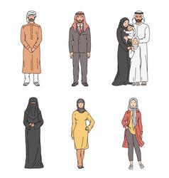 Muslim cartoon character set - people vector