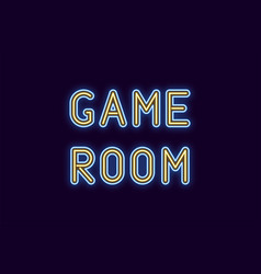 Neon inscription of game room vector