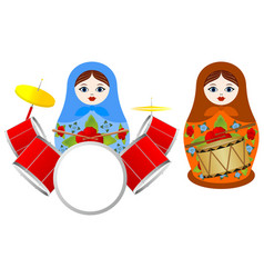 Nesting dolls with a drum vector