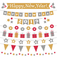 new year 2019 bunting set vector image