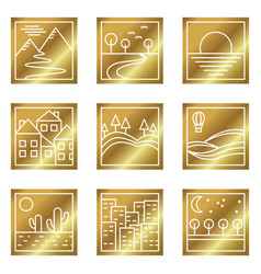 nine gold square simple icons vector image