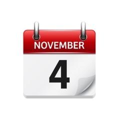 November 4 flat daily calendar icon date vector