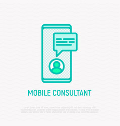 Online consultant thin line icon vector