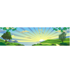 panorama landscape sunrise over the bay vector image