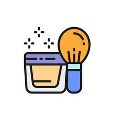Powder kabuki brush face cream in jar flat color vector
