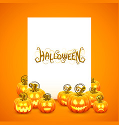 pumpkin blank frame paper postcard vector image