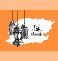 Ramadan mubarak hanging lantern hand drawing vector
