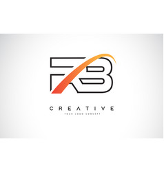 Rb r b swoosh letter logo design with modern vector
