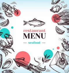 Restaurant sea food menu Hand drawn sketch vector image