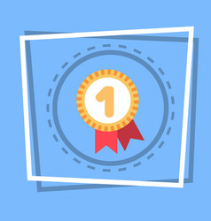 Robbon with medal icon best prize award web button vector