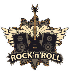 Rock and roll banner with guitar speakers wings vector