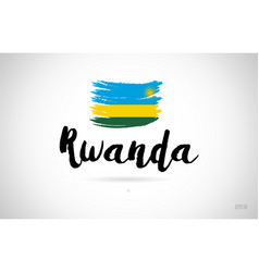 rwanda country flag concept with grunge design vector image