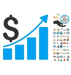 Sales Growth Chart Icon With 2017 Year Bonus vector