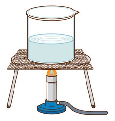 Science experiment with boiling water on rack vector
