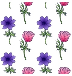Seamless background of flower anemones vector