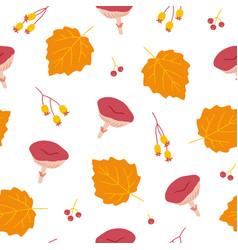 Seamless pattern with poplar leaves mushrooms vector