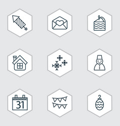set of 9 holiday icons includes date greeting vector image