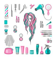 set of barbershop equipment vector image