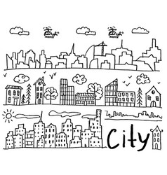 set of hand drawn doodle cities vector image