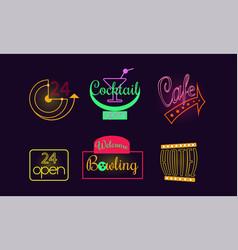 Set of original neon signs for 24 open vector