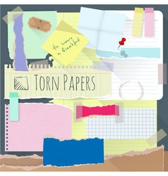 Set of torn note papers vector